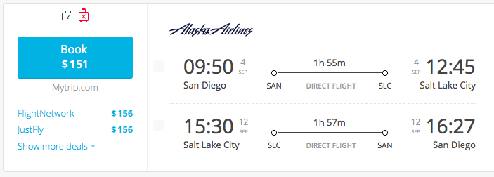 San Diego To Salt Lake City Flights For 151 Roundtrip